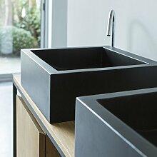 Terrazzo Waschbecken rechteckig 42 cm schwarz Aufsatzwaschbecken