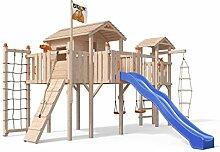 Terrizio XL-Spielturm Baumhaus mit Turm Schaukelanbau, 3- Seiten Strickleiter, Rutsche, Doppelschaukel, Kletterrampe, Kletternetz und Spielhaus auf 1,50 Meter Podesthöhe (Blau)