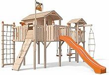 Terrizio XL-Spielturm Baumhaus mit Turm Schaukelanbau, 3- Seiten Strickleiter, Rutsche, Doppelschaukel, Kletterrampe, Kletternetz und Spielhaus auf 1,50 Meter Podesthöhe (Orange)