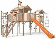 Terrizio XL-Spielturm Baumhaus mit Turm Schaukelanbau und Sicherheitstreppe, 3- Seiten Strickleiter, Rutsche, Doppelschaukel, Kletternetz und Spielhaus auf 1,50 Meter Podesthöhe (Orange)