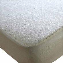 Terry Wasserdicht Matratzenschoner nicht crinky antibakteriell Extra tief Anti Allergy antibakteriell Anti Staub Milben alle UK Größe, baumwolle, weiß, Doppelbe