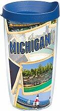 Tervis 1236698 Michigan Collage Becher mit Deckel