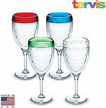 Tervis Multi Weinglas Set von vier, plastik, mehrfarbig, keine