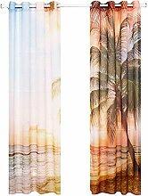 Terylene Lichtdurchlässigkeit Druck 40% Schatten Stempel der Rom Bar Perforierte Vorhang Windows Vorhänge Valance 1 Paar , a , 55*102in