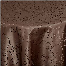 TEXMAXX Damast Tischdecke Maßanfertigung im Ornamente-Design mit Saum - 180 cm Rund in Braun, weitere Farben und Größen sind wählbar