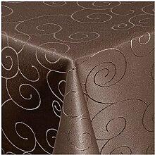 TEXMAXX Damast Tischdecke Maßanfertigung im Ornamente-Design in braun 100x140 cm eckig, weitere Längen sind wählbar