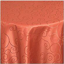 TEXMAXX Damast Tischdecke Maßanfertigung im Ornamente-Design mit Saum - 110 cm Rund in Terrakotta, weitere Farben und Größen sind wählbar