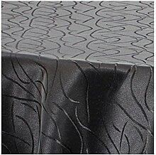 TEXMAXX Damast Tischdecke Maßanfertigung im Streifen-Design mit Saum - 140 cm Rund in Schwarz, weitere Farben und Größen sind wählbar