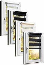 TEXMAXX Fensterrollo Duo-Rollo Doppelrollo Sonnenschutz mit Kettenzug und Klemmfix ohne bohren in BEIGE - CREME, Leisten in Weiss - 115 x 150 cm - inkl. Zubehör