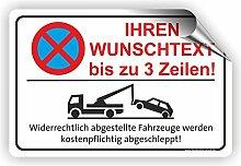 TEXT NACH WUNSCH Quer - Parken verboten Schild / PV-027 (45x30cm Aufkleber)