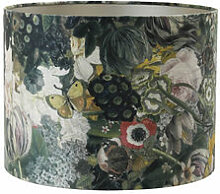 Textil-Lampenschirm mit üppigen Blumen zum