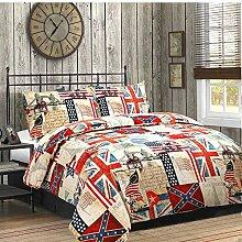Textile Online 3-Teilig Bettbezug mit Kopfkissenbezügen, Set Welt, Karte BettwäSche-Set, Einzelbe