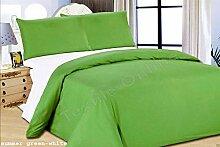 Textile Online Bettbezug mit Kopfkissenbezügen &Spannbetttuch Reversbile, 2 Stück, Silberfarben, Summer Green White, King Size