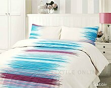 Textile Online Bettwäsche-Set mit 4 Kissen &Bettlaken, Scribble Aqua, Einzelbe