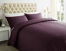 Textile Online T250Hotel Qualität Satin Streifen Bettbezug mit Kissen Fall Luxus Bett Set pflaume Farbe, Doppelbe