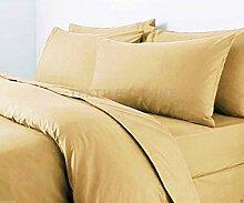 Textile Online unifarben Poly Baumwolle Bettdeckenbezug mit Kopfkissenbezug, Steppmuster, beige, Super King