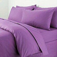 Textile Online unifarben Poly Baumwolle Bettdeckenbezug mit Kopfkissenbezug, Steppmuster, lila, Doppelbe