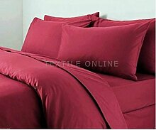 Textile Online unifarben Poly Baumwolle Bettdeckenbezug mit Kopfkissenbezug, Steppmuster, burgunderfarben, Doppelbe