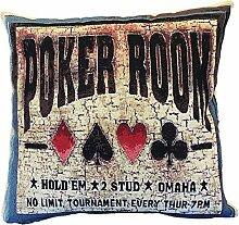 Textiles el Cid Poker Kissenbezug, Algodón-poliéster-acrílico, Schwarz und Beige, 45x 45x 1cm