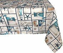 Textiles El Cid Tagomago resinado Tischdecke, schmutzabweisend, aus Polycotton, grau und blau, 35x 35x 1.50cm