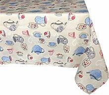 Textiles el Cid Teekanne resinado Tischdecke, schmutzabweisend, aus Polycotton, grau, blau und pink, 35x 35x 1.50cm