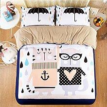 Textilhaus 3D-Cartoon-Mädchen-Kind-Familie Von Vier (Bettwäsche Bettdecke Kissenbezüge),F-1.2m(4ft)B