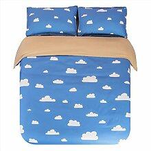 Textilhaus 3D Einfaches Dreiteiliges Baumwoll-Bettwäsche Heimtextilien (Bettwäsche Bettdecke Kissenbezüge),F-1.5m(5ft)B