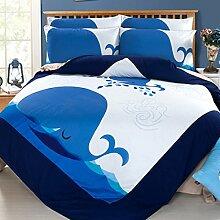 Textilhaus 3D Einfaches Dreiteiliges Baumwoll-Bettwäsche Heimtextilien (Bettwäsche Bettdecke Kissenbezüge),J-1.2m(4ft)B