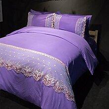 Textilhaus 3D Spitze Stickerei Volltonfarbe Minimalistischer Dreiteilig (Bettwäsche Bettdecke Kissenbezüge),DeepPurple-1.2m(4ft)B