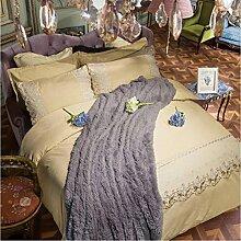 Textilhaus 3D Spitze Stickerei Volltonfarbe Minimalistischer Dreiteilig (Bettwäsche Bettdecke Kissenbezüge),Khaki-1.8m(6ft)A