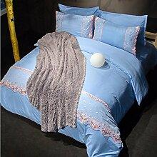 Textilhaus 3D Spitze Stickerei Volltonfarbe Minimalistischer Dreiteilig (Bettwäsche Bettdecke Kissenbezüge),LightBlue-1.8m(6ft)A