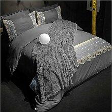 Textilhaus 3D Spitze Stickerei Volltonfarbe Minimalistischer Dreiteilig (Bettwäsche Bettdecke Kissenbezüge),DarkGray-1.2m(4ft)B