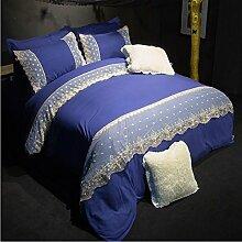 Textilhaus 3D Spitze Stickerei Volltonfarbe Minimalistischer Dreiteilig (Bettwäsche Bettdecke Kissenbezüge),Navy-1.8m(6ft)B
