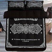 Textilhaus 3D-Sterne Schwarzen Und Weißen Streifen Einfache Vierköpfige Familie (Bettwäsche Bettdecke Kissenbezüge),B-1.2m(4ft)A