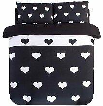 Textilhaus 3D-Sterne Schwarzen Und Weißen Streifen Einfache Vierköpfige Familie (Bettwäsche Bettdecke Kissenbezüge),E-1.8m(6ft)B