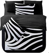 Textilhaus 3D-Sterne Schwarzen Und Weißen Streifen Einfache Vierköpfige Familie (Bettwäsche Bettdecke Kissenbezüge),I-1.5m(5ft)A