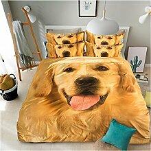 Textilhaus Einfacher 3D-Männer Lion Textilvierköpfige Familie (Bettwäsche Bettdecke Kissenbezüge),G-1.2m(4ft)B