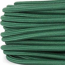 Textilkabel für Lampe, Stoffkabel, 3-adrig (3x0,75mm²), Dunkelgrün - 20 Meter