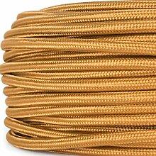 Textilkabel für Lampe, Stoffkabel, 3-adrig (3x0,75mm²), Whiskey (Hellbraun) - 20 Meter