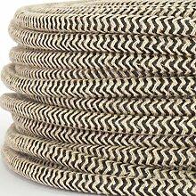 Textilkabel für Lampe, Stoffkabel aus Leinengarn, 3-adrig (3x0,75mm²) * Made in Europe * Leinen-Schwarz zick zack - 3 Meter