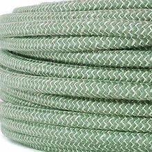 Textilkabel für Lampe, Stoffkabel Leinengarn, 3-adrig (3x0,75mm²) * Made in Europe * Leinen-Grün - 50 Meter