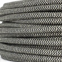 Textilkabel für Lampe, Stoffkabel Leinengarn, 3-adrig (3x0,75mm²) * Made in Europe * Leinen-Anthrazit - 20 Meter
