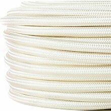 Textilkabel für Lampe, Textilummanteltes Rundkabel, zweiadrig 2x0,75mm², Elfenbein-weiß - 50 Meter Rolle