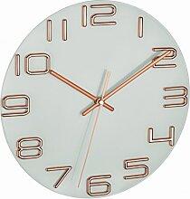 TFA Dostmann Design Wanduhr Ohne Rahmen mit Kupferfarbenen Ziffern, Kunststoff, Kupfer, 30 x 4 x 30 cm