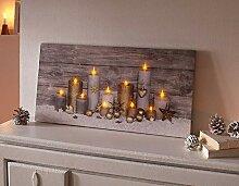 TFH LED Bild Kerzen Wanddeko Weihnachten Leuchtend