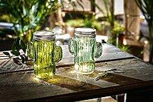 TFH LED Windlicht Glas Kaktus 2er Set