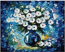 TFjXB Blaues Gänseblümchen, Diamantmalerei