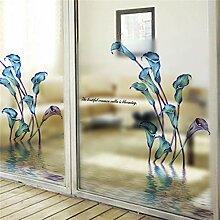 TFOOD fensterfolien,Blaue Lila Blume Film Auf Glas