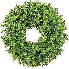 TGG Buchsbaum Kranz auf Ring aus Rebe, Tischdeko,