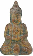 Thai Buddha 42x26x14cm sitzend Keramik Feng Shui Buddhafigur Garten Deko Budda